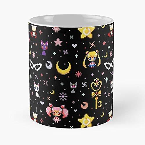 Desconocido 8 Moon Sprite Retro Senshi bit Sailormoon Art Pixel Sailor Bishoujo Taza de café con Leche 11 oz