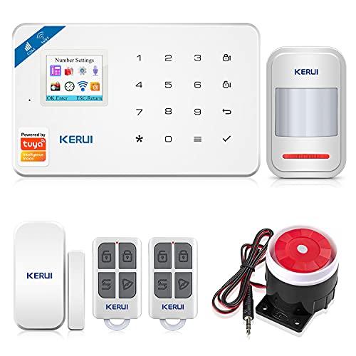 KERUI W18 Sistema de Alarma Inalámbrico 2.4G WiFi/gsm para el Hogar, Kits de Sistema de Alarma...