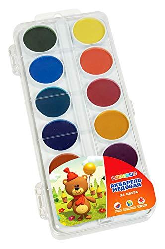 Set of Watercolor Honey Paints in a Plastic Box (24 Color) Aqua Color