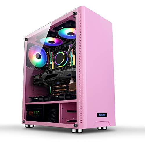 WSNBB Gaming Case, Mid-Tower ATX/M-ATX/ITX PC Gaming Computer Case,Acrylic Side Panel,USB 3.0,for Desktop PC Computer (Color : Pink)