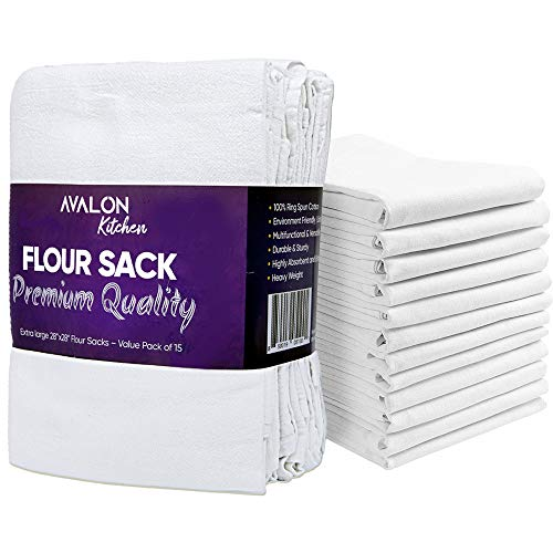 Avalon Kitchen Flour Sack Dish Towels (Value Pack of 15) – 28x28 inches – Made from 100% Ring-Spun Cotton – Lint Free with High Absorbency, Durability. Tea, Table, Cleaning, Drying - Multipurpose use