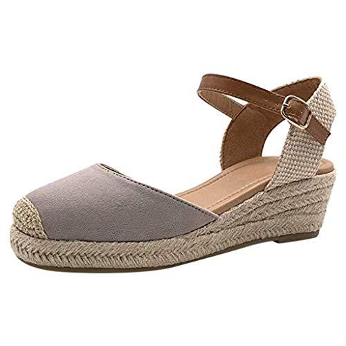 Sandalias Mujer Verano 2019 - Hebilla Correa para el Tobillo Respirable Zapatos con Plataforma Alta - con Altas Tacon 5 CM - Talla 35-43 - para Playa Fiesta