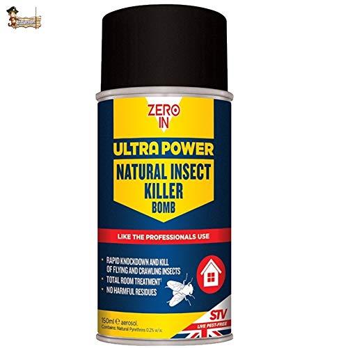 BricoLoco Bomba insecticida Descarga Total. con piretrinas. Sin residuos nocivos. Antipulgas, pulgas, garrapatas, Hormigas, Moscas, Mosquitos, arañas, cucarachas… (1 ud. x 150 ml)