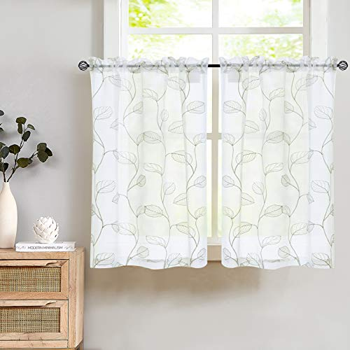 Kitchen Sheer Tiers Bathroom Curtains with Leaf Embroidered Design Rod Pocket Curtain 36 inch Green on White 2 Pcs