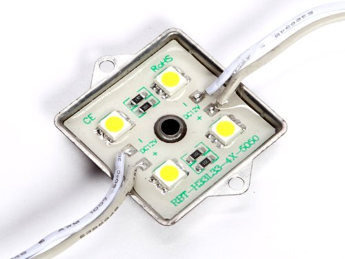 Modulo LED 24 V con 4 LED SMD impermeabili, 24 Volt DC, IP68 10 x rosa.