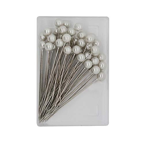 50 Perlkopfnadeln 55mm Dekorationsnadeln Stecknadeln Perlennadeln Farbwahl, Farbe:weiß