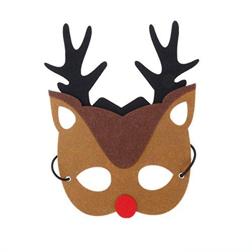 YeahiBaby 2pcs máscara de Traje de Navidad Fieltro Reno máscara de Reno para niños Adultos Fiesta de Navidad Cosplay
