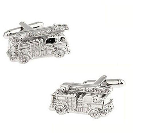 GuDeKe Men's Pictograms Fire Fighting Truck Silver Cufflinks Boutons de Manchette Camion de Pompier