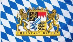 Bayern Fahne mit 2 Löwenwappen und Freistaat Bayern Schrift Grösse 1,50x2,50m XXL Oktoberfest
