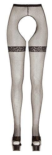Lingerie4me Damen-Netz-Strumpfhose, schwarz, Strapsoptik, mit Muster Größe Small/Medium