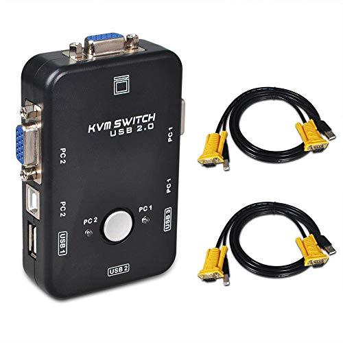 bedee USB KVM Switch Box + Cavo VGA USB Per PC Monitor/Tastiere/Mouse (2 Porte) Massima compatibilitàCondivisione simultanea computer