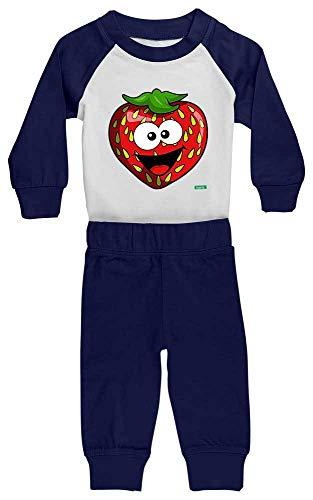 Hariz - Pijama para bebé, fresa, salmón, frutas, multicolor, tarjeta de regalo, blanco/azul marino, 0 – 6 meses