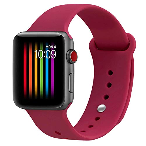 VIKATech Correa de Repuesto Compatible con Apple Watch de 40 mm 38 mm, Correa de Silicona Suave de Repuesto para iWatch Series 4/3/2/1, S/M, Rose Red