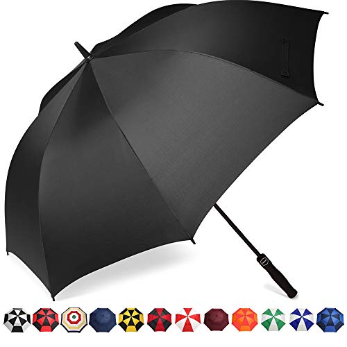 BAGAIL Golf Umbrella 68/62/58 Inch Large Oversize Double Canopy Vented Automatic Open Stick Umbrellas for Men and Women(Black Single Layer,58 inch)