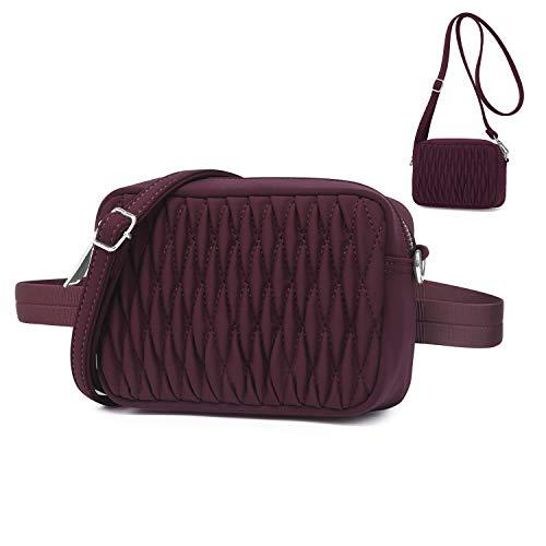 Wind Took Mode Umhängetasche Bauchtasche 2 in 1 Damen Klein Tasche Gürteltasche Schultertasche Handtasche für Reisen Partys Sports Rot