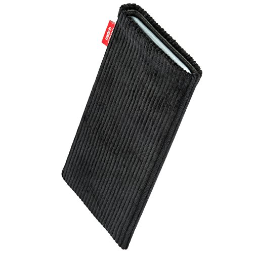fitBAG Retro Schwarz Handytasche Tasche aus Cord-Stoff mit Microfaserinnenfutter für Huawei Ascend Mate 2   Hülle mit Reinigungsfunktion   Made in Germany - 2