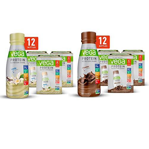 Vega Protein Shakes Ready to Drink, Chocolate + Vanilla Bundle (2x12 Count)- Plant Based Vegan Nutrition Shake with Veggies, Greens, Vitamins & Minerals, Gluten Free, Dairy Free, Soy Free, Vegetarian