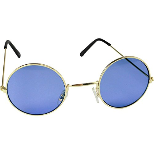 Childrens Kids Boys Girls Lennon Round Hippie Sunglasses Glasses Fancy Dress (Blue)