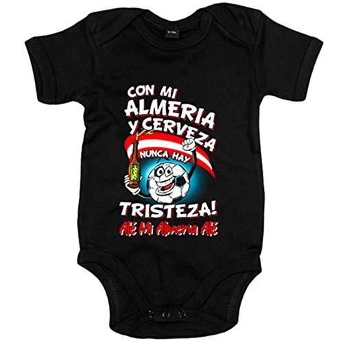 Body bebé frase con mi Almería y cerveza nunca hay tristeza fútbol - Negro, 6-12 meses