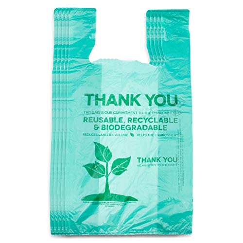 Recyclable Compostable Reusable Biodegradable Bags Grocery Shopping Bags Green, Eco Plastic Bags 200 Pack