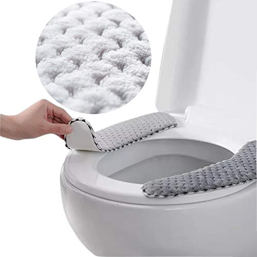 2Pack Plush Warm Thick Padded Toilet Seat Cover Mat Non Slip Soft Toilet Seat Cushion Washable Bathroom Warmer with Self-Adhesive Tape