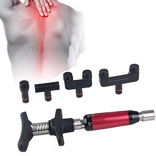 SZH ZPTENT Manuelles Orthopädische Gun, Chiropraktik-Dorn-Einstellung Corrector Werkzeugs mit 4 Austauschbare Massageköpfen Wirbelsäule anpassen Massagegerät 300N