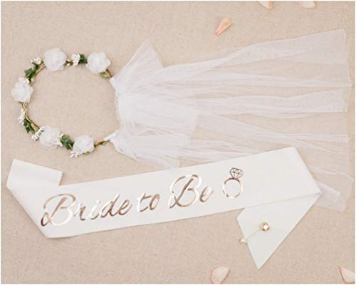 PapaKit Premium Bride to Be Party Sash, Floral Veil & Jewelry Pin Set,...