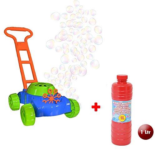 DRULINE Seifenblasen Rasenmäher Gartenspielzeug Für Kinder Mit 👍 GRATIS 👍 1 ltr Bubble Machine Seifenlösung Enthalten   Geschenkidee Für Kinder Ab 4 Jahren   Gartengeräte Und Zubehör   Spielzeug