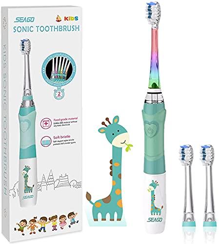 Seago - Cepillo de dientes eléctrico para niños de 3 a 12 años con temporizador inteligente y luces LED de color y 3 cabezales de cepillo para niños y niñas SGEK6/SG977 (verde)