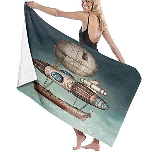 TISAGUER Toalla de baño de Microfibra Tema Steampunk Hot Air Balloon Airship Tale Boat Suave Absorbente Hoja de baño de para el hogar,los baños,la Piscina Toallas Baño Toalla de Playa