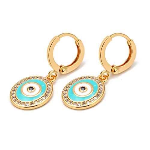 Glückliches Auge Fatima Hamsa Hand Blau Böse Augentropfen Ohrringe Gold Farbe Kupfer Baumel Ohrringe Für Frauen Mädchen Modeschmuck