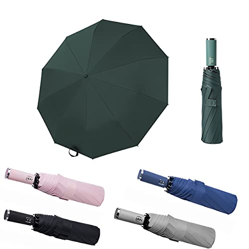 BAODINI Compact Windproof Folding Umbrella for Rain-Sun Umbrella UV Protection UPF 50+ with Teflon Canopy 10 Ribs and Black Glue Coating- Automatic Open Close Car Umbrella for Men and Women-46 Inches Green