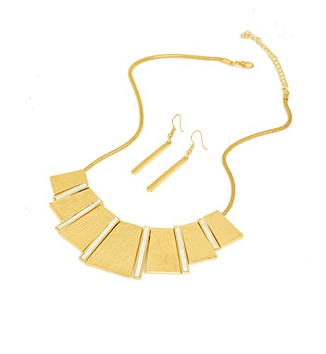 HSWE Statement Collar Necklace Bar Drop Earrings Set for Women Enamel Tricolor Bib Necklace Choker Necklace (Gold)