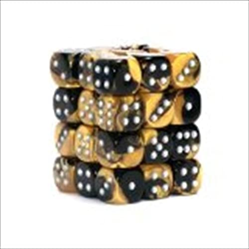 Chessex Manufacturing 26851 D6 Cube Gemini Set Of 36 Dice& 44; 12 mm - schwarz & Gold With Silber Numbering by Chessex Manufacturing