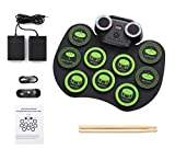 MAGICON Desktop Roll up Digital Portable Electronic Drum Pads for Practicing and Learning Drumming Basics,Dynamic rhythm LED lighting effects,9 Pads Portable Electric Drum Set