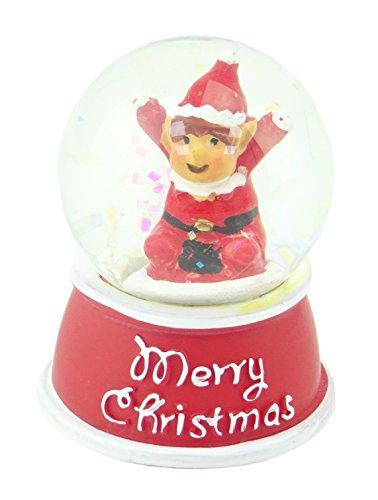CHRISTMASSHOP Globo de la Nieve del Brillo de la Navidad - Feliz Navidad - Interior del diseño del Duende - Decoraciones Tradicionales de la Navidad