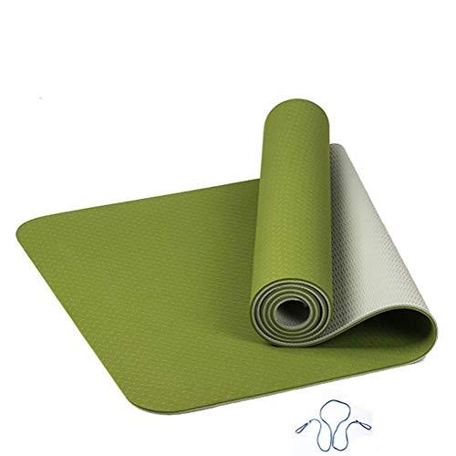 VQOOWY Colchoneta para Ejercicios de Fitness 6MM TPE Yoga Mat Anti Slip Fitness Deportivo Gimnasio Colchonete for Principiantes 183 * 61 * 0.6cm para el Yoga (Color : Green)