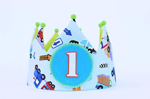 Corona de cumpleaños niño con dibujos de coches, regalo niño