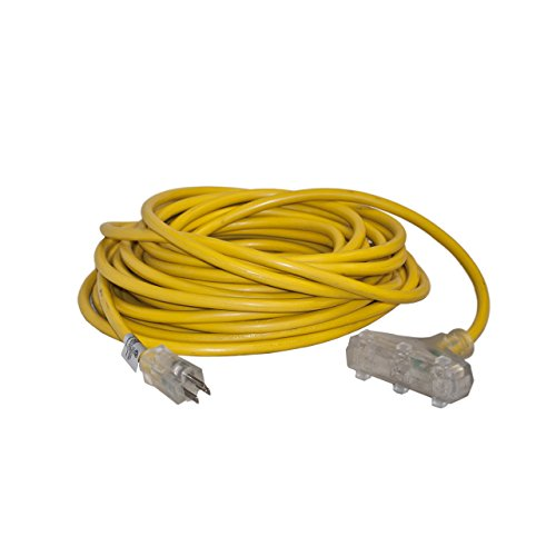 ALEKO EC12G3P50 Heavy Duty Indoor Outdoor Extension Cord with Triple Lighted Tap ETL Certified SJTW Plug 12/3 Gauge 125 Volt 50 Feet Yellow