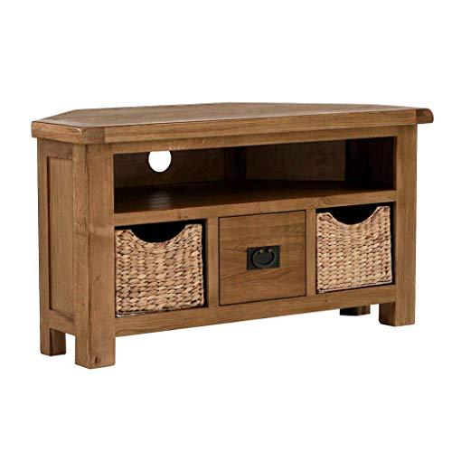 Zelah Oak Corner TV Cabinet Unit with Baskets for Living Room | Roseland Furniture Rustic Solid Wood 105cm Television Media Stand for Bedroom or Lounge | Fully Assembled
