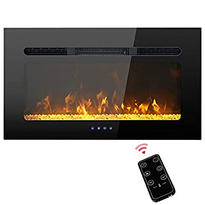 PHI VILLA 30 inch Electric Fireplace, Recessed/Insert & Wall Mounted Electric Space Heater for The Living Room, Timer with Remote Control, Touch Screen, Adjustable Flame Color, 1500W (Black)