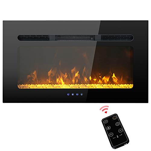 PHI VILLA 30 inch Electric Fireplace, Recessed & Wall Mounted Electric Heater, Timer with Remote Control, Touch Screen, Adjustable Flame Color, 1500W (Black)