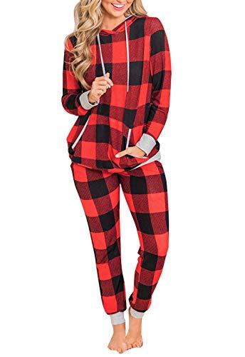 Christmas Pajamas for Womens, Casual 2 Piece Pajama Set Print Long Sleeve Top & Pants Sleepwear Pjs Sets (Red Plaid, S)