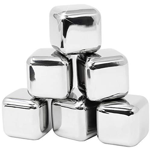 COM-FOUR® 6x cubetti di ghiaccio in acciaio inossidabile, pietre di whisky di alta qualità, riutilizzabili, pietre di raffreddamento per whisky, vino, gin e bevande toniche (06 pezzi)
