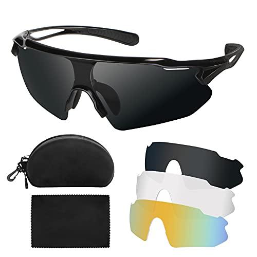 Abtong Fahrradbrille Herren Damen Polarisierte Sportbrille Selbsttönend Sport Sonnenbrille Herren mit UV400 3 Wechselgläser MTB Rennrad Brille Radsportbrillen
