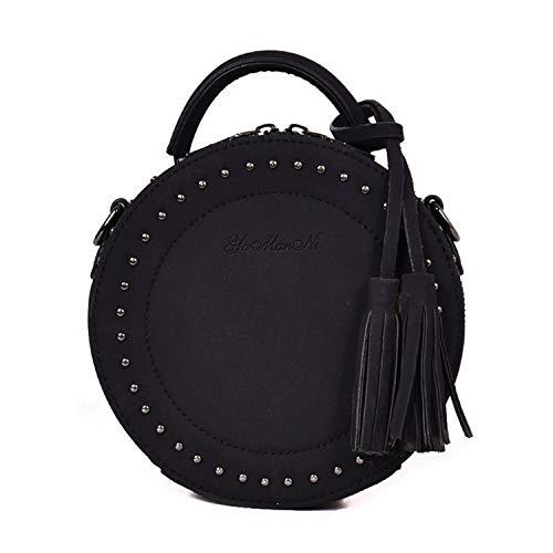 SUKUTU Circle Round Crossbody Bag Purse Clutch Woman Girls Vintage Rivet Trendy Shoulder Handbag with Tassel