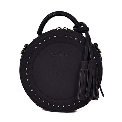 SUKUTU Vintage Circle Clutch Purse Rivet Round Crossbody Bag for Women, Girls Trendy Shoulder Bag with Tassel