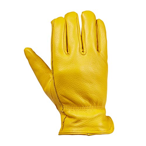 Saranac Prescott Deerskin Gloves for Men, Medium, Gold - Lined Leather Working Gloves with Insulation for Gardening, Driving - Premium, Soft Leather - With Ergonomic Thumb, Cinched Wrist