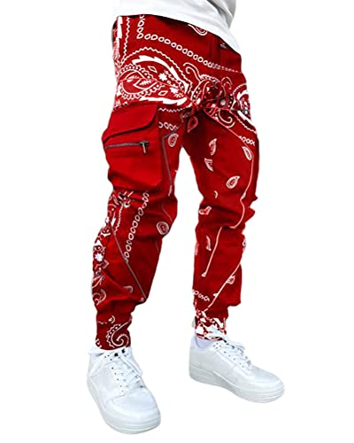 Onsoyours Herren Hip Hop Jogger Cargo Pants Hosen Baggy Streetwear Punk Hose Cargohose Outdoorhose Männer Sporthose Freizeithose Jogging Treckking Casual Mit Taschen A Rot M