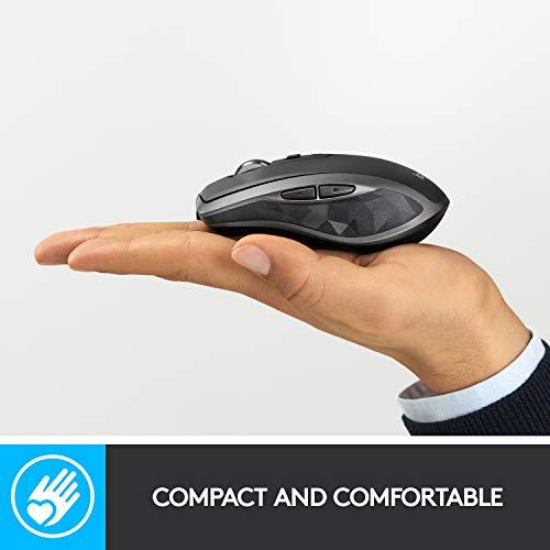 Logitech MX Anywhere 2S - Ratón (mano derecha, RF inalámbrica + Bluetooth, 4000 DPI, Black, Gris)
